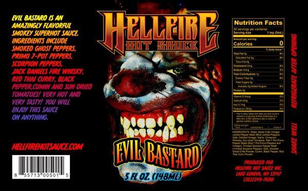 Hellfire Evil Bastard Hot Sauce этикетка