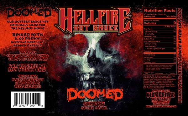 Острый соус Hellfire Doomed Hot Sauce этикетка