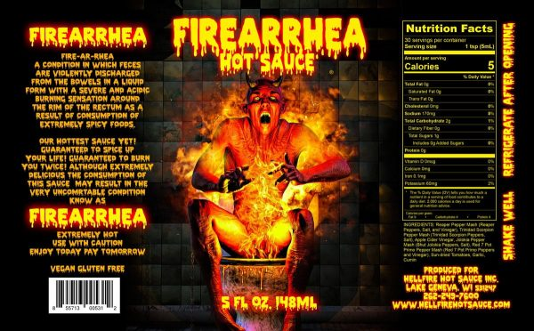 Острый соус Hellfire Firearrhea Hot Sauce этикетка