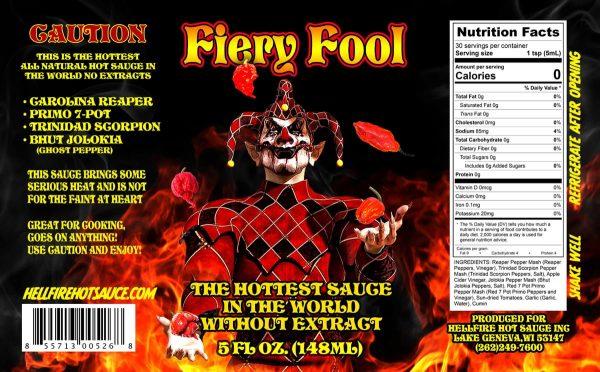Острый соус Hellfire Fiery Fool Hot Sauce этикетка