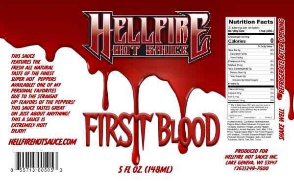 Острый соус Hellfire First Blood Hot Sauce этикетка