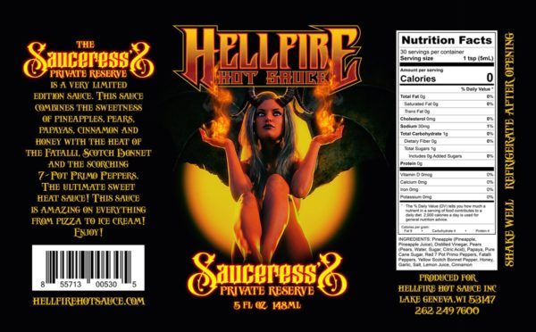 Hellfire Sauceress's Private Reserve label