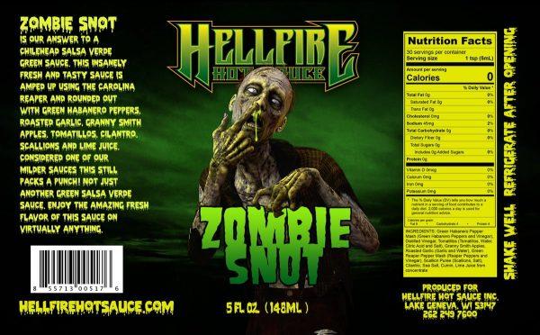 Острый соус Hellfire Zombie Snot Hot Sauce этикетка