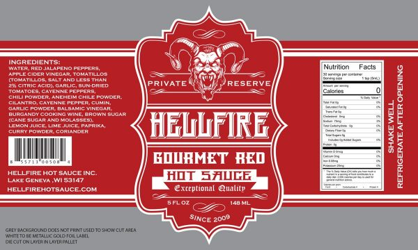 Hellfire Gourmet Red Hot Sauce этикетка