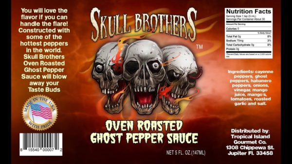 Острый соус Skull Brothers Ghost Hot Sauce этикетка